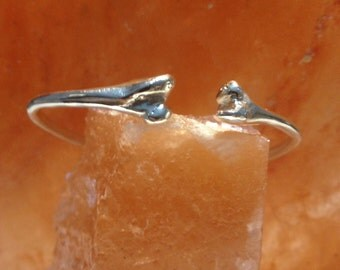 Bone head bangle. bracelet   and ring silver 925 hammered