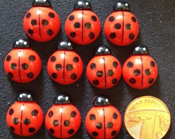 Resin Flatback Kawaii Ladybirds 10pk