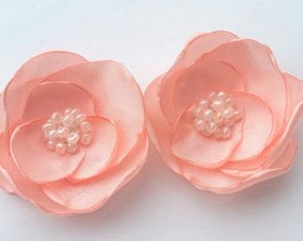 Pink hair flowers pink hair pins bridesmaid hair accessory flower hair clip