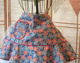 Half apron. Hostess  gift, apron, blue apron