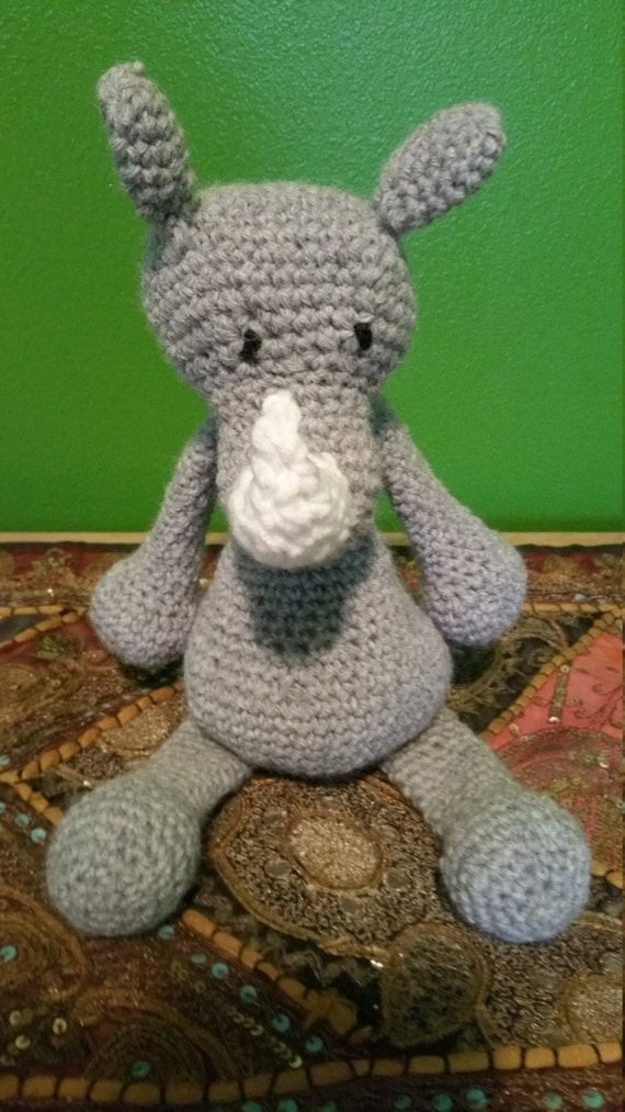 Handmade Amigurumi Crochet Rhino Stuffed Animal