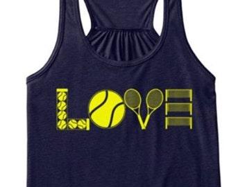 Tanks with LOVE (tennis) heat press