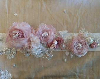 Vintage chic wedding dress sash w/roses,pearls,rhinestones and applique