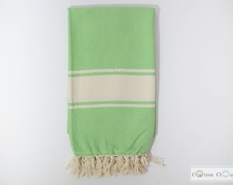 60% SALE Herringbone Chevron Green Towel   Turkish Towel   Turkish Cotton   Eco Friendly   Natural Cotton   Bath Towel  Beach Towel
