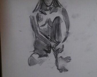 girl sitting shaded sketch