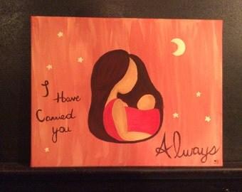 Brunette Babywearing Acrylic Painting