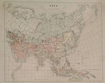 Antique Original 1858 Map of Asia by W and A.K. Johnston