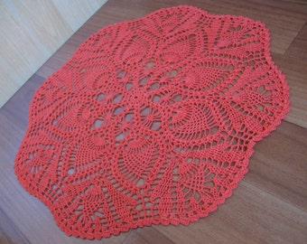 Coral crochet napkin,crochet table doily,handcrafted home decor