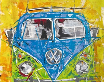 Volkswagen Camper van Painting ... blue vw camper
