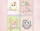 Printable Owls Baby Nursery Wall Art Decor in Pink Green Grey Owls  Baby Child Kids ~ DIY Instant Download ~ 4 8x10 Prints