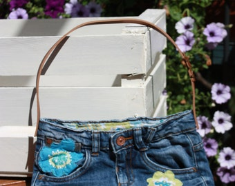 recycled denim clutches