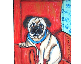 Folk Art - Dog on Red Chair