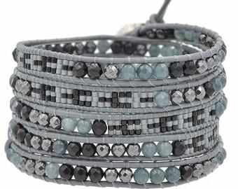Bracelets cufflinks Wrap stones semi-precieuse