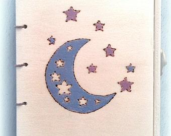Wooden lockable Moon and star book