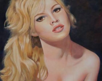Portrait of Brigitte Bardot young original color oil painting