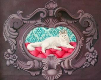 Portrait de chat angora blanc dans cadre baroque violet en trompe-l'oeil, peinture à l'huile Sa majesté
