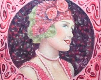 Oil painting portrait woman retro twenties violet pink