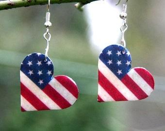 I love America Earrings, American Flag Earrings, American Flag on a heart, american flag jewelry, american earrings, american jewelry