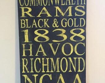 Virginia Commonwealth University~VCU subway art sign~VCU Rams board~College gifts~Richmond Virginia~Subway Art