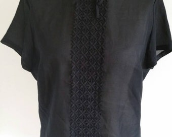 Original 1950s black blouse with lace work panel down the front with buttons up the back