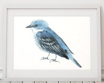 Cerulean warbler print Cute nursery art Bird watercolor ACW139