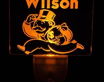 Monopoly Banker Light Sensor LED Night Light, Personalized Custom LED Nightlight
