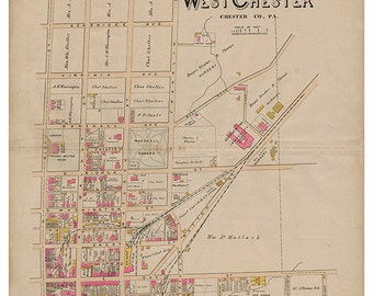 West Chester, PA North Ward Breous Atlas 1883 Reproduction