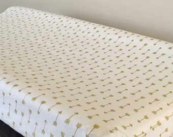 Gold arrow changing pad cover, gold nursery, baby changing pad mattress cover