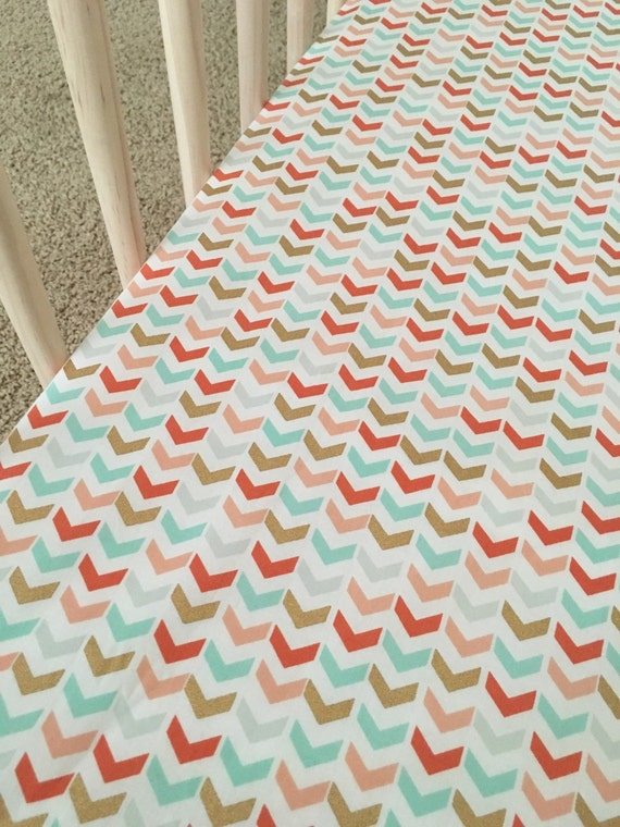 coral mint green gold baby fitted crib sheet designed by