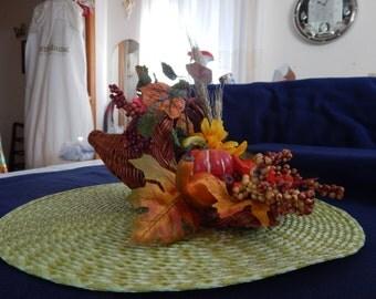 Cornucopia Fall Flower arrangement