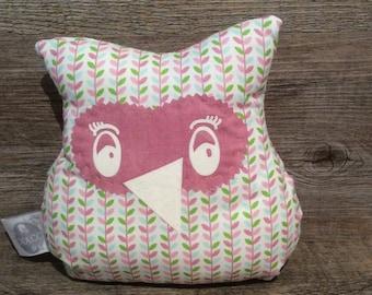 Doudou OWL pink sheet green blue