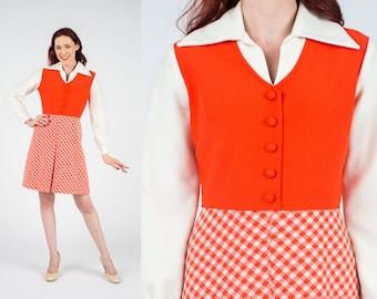 Vintage 1960's Orange & White Peter Pan Collar Long Sleeved Dress S/M Peggy Mad Men