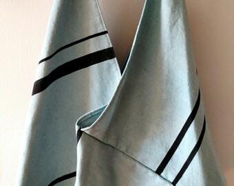 Repurposed Cotton Drop Cloth Market Bag- Light Turquoise with Black Print