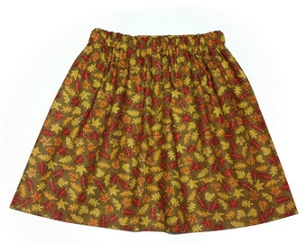 Autumn, fall skirt, harvest, Thanksgiving, 100% cotton, falling leaves, orange, red, yellow, brown, in girls' sizes  5, 6, 7, 8, 10, 12