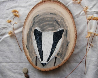 "wood painting ""The Farmer"" hand-painted animal portrait, badger"