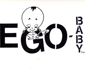 Egobaby (black and white) sketch print