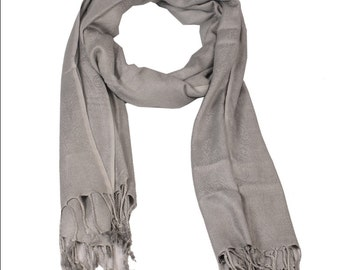 Valintino Viscose Stole in Gray Color with Self Design Size 70*30