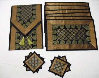Black Color Indian Silk Table Runner with Placemat 6 and Coaster 6 Size 16x62