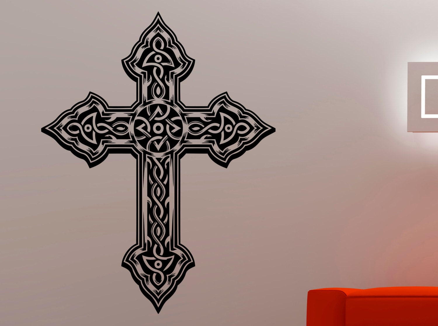 cross wall decal religious sticker home interior design living. Black Bedroom Furniture Sets. Home Design Ideas