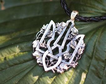 Ukrainian trident, silver trident, ukrainian tryzub, ukrainian charm, ukrainian gift, ukrainian necklace, ukrainian jewelry, ukrainian art