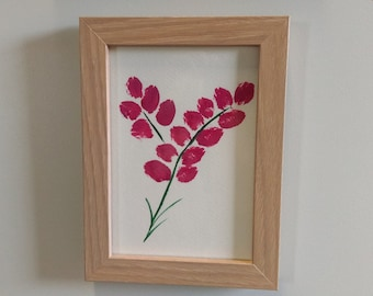 Pink Flowers - Original Hand Painted Framed Acrylic