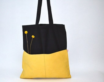 Shopper, Tote Bag, Cotton bag black, velour leather yellow