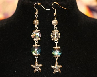 Starfish and Crystal Earrings