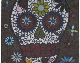 Mosaic sugar skull and flowers.