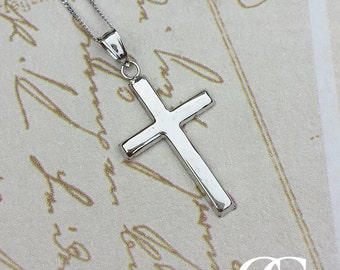 9ct White Gold 2.5cm Cross Pendant & Chain ENGRAVE PERSONALISE
