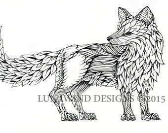 Hand Drawn Pen and Ink Fox Signed Print