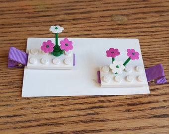 Lego flower hair clips