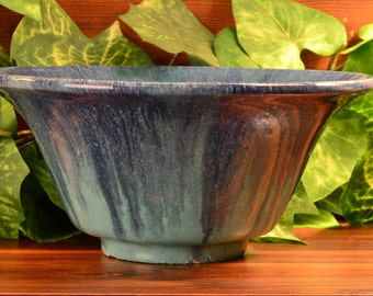 Muncie Pottery  Blue Drip Over Green Bowl (Shape 162-8), 1930's