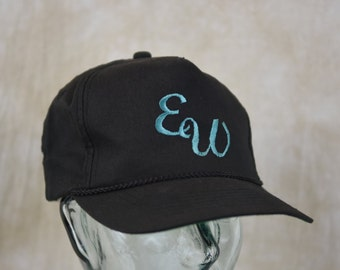 EW! Funny Vintage 90s Embroidered Snapback Hat 1990s Snap Back Joke Cap Novelty Funny Hat Black Green Embroidery Adjustable Grunge Hat Style
