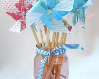 Pinwheel. Paper pinwheel. Blue and Pink - sizes 8cm